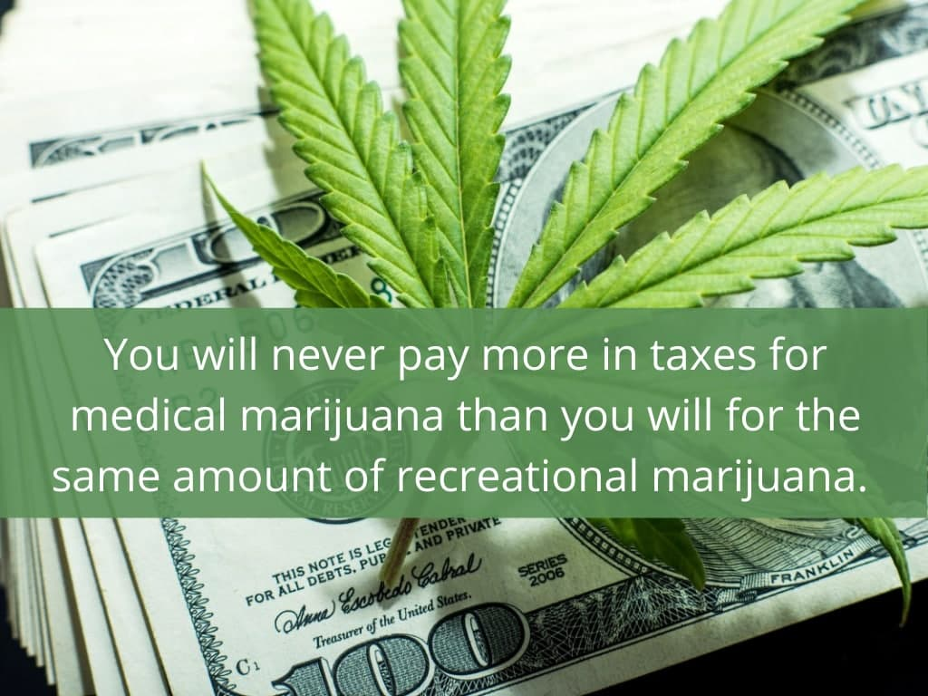 You will never pay more in taxes for medical marijuana than you will for the same amount of recreational marijuana